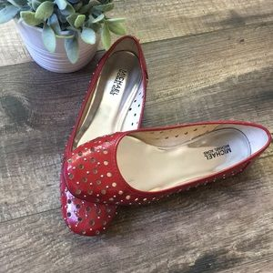 Michael Kors Red Leather Studded Ballet Flats